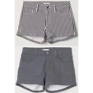 H&M Denim Striped Cuffed Shorts Navy White Bundle